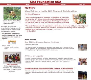 Screenshot of Kisa Foundation home page.